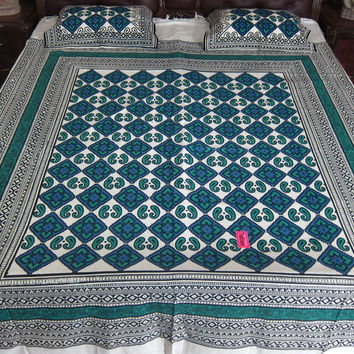 Indian Bedding Calm Blue White Cotton Bedcover Bedroom Decor Coverlet 2 Pillow Covers KING Size