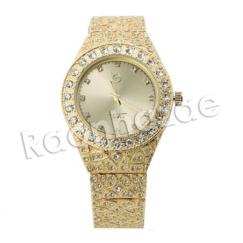 HIP HOP ICED OUT RAONHAZAE JEREMIH LUXURY GOLD FINISHED LAB DIAMOND WATCH
