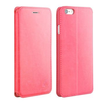 For Apple iphone 6 6s Leather Case,4.7 inch Protective Folio Case Flip Cover Back Stand(Red)
