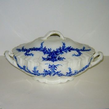 Antique Tureen Burgess Leigh Dresden Flow Blue Covered Vegetable Dish