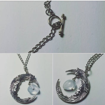 Moon and Stone Pendant