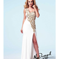 (PRE-ORDER) Mac Duggal 2014 Prom Dresses - Ivory & Gold Stone Embellished One Shoulder Cut Out Jersey Gown