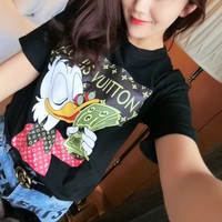"""Louis Vutitton"" Letter Cartoon Donald Duck Print Women Casual Short Sleeve T-shirt Top Tee"