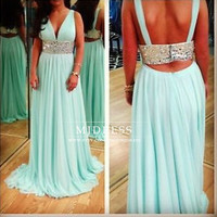 V-neck backless prom dresses evening dresses cocktail dress sexy beading waist chiffon party dress prom dress, coral / mint prom dress