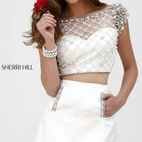 Two Piece Ivory Sherri Hill Homecoming Dress