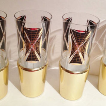 Vintage Retro Mad Men 1960s Geometric Pattern Beer Glasses in Gold Insulated Cooler Holders