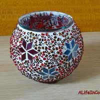 Handmade authentic unique colourful glass mosaic candle holder, desk pencil holder, office pencil holder, colourful mosaic little vase.