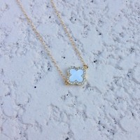 N&K Designs - Mother Of Pearl Clover Necklace | ShopMiamiStyle