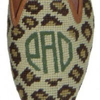 Monogrammed Needlepoint Shoes - Leopard