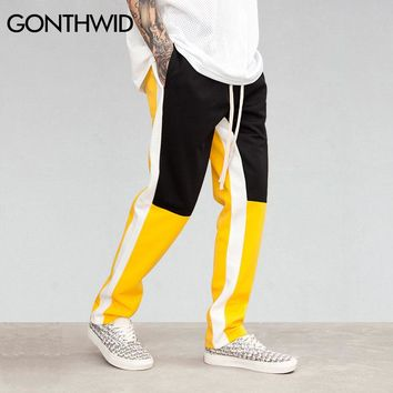 GONTHWID Color Block Patchwork Harem Pants Joggers Mens 2018 Spring Hip Hop Casual Track Pants Fashion Streetwear Trousers