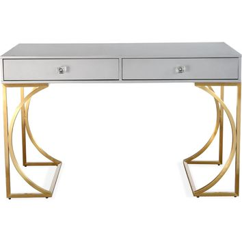 Lexie Chic Desk Matte Grey Lacquer Brushed Gold