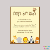 Safari Don't Say Baby Baby Shower Game - Printable Safari Don't Say Baby Sign Diaper Pin Clothes Pin Game - Instant Download - BS0001-N