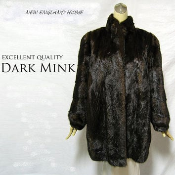 Genuine Dark Mink Fur Coat Stroller Jacket Sz L   Xl  (Japanese)