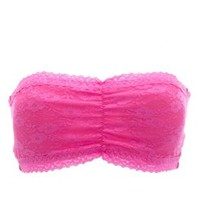 Sweetheart Lace Bandeau Bra by Charlotte Russe - Pink