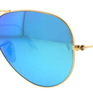 AUTHENTIC RAY-BAN AVIATOR SUNGLASSES RB3025 112/17 62mm GREEN MIRRORED LENS GOLD