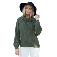 Women Turtleneck Tricot Pull Oversized Knitted Pullover Sweater