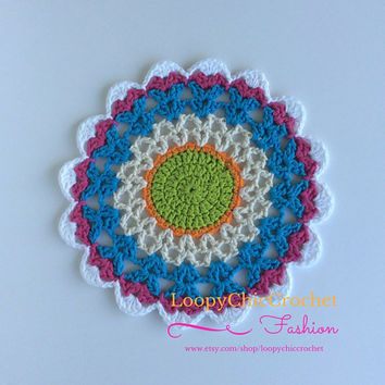"10"" Multicolor Mandala, Crochet Mandala, Mandala, Bright Mandala, Doilies, Doily, Home Decor, Centerpiece, For the Home, Garden Accents"