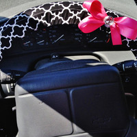 Black and white quatrefoil steering wheel cover with bow
