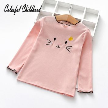 Spring Fall Girls Shirts Cotton Long Sleeve cat embroidery Children's T-Shirt Girl Kids Baby Toddler Tops And Blouses
