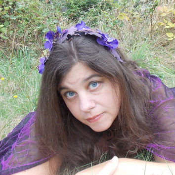 Woodland Halloween Fairy Leaf and Flower Garland Headband with Twigs in Purple, Black, and Brown