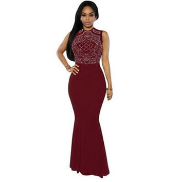 Adogirl Formal Shimmering Rhinestone Embellish Party Dresses Women Sleeveless Floor Length Black Mermaid Maxi Dress Robe Longue