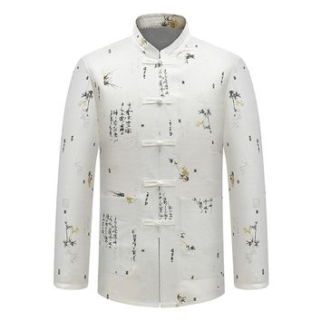 White Men's Cotton Long Sleeve Kung Fu Shirt Traditional Chinese Style Embroider Tang Clothing Casual Stand Collar Shirts Men