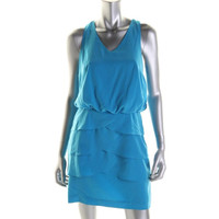 Laundry by Shelli Segal Womens Petites Tiered Sleeveless Cocktail Dress