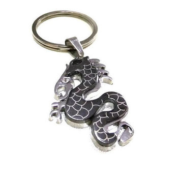 Silver Dragon Charm/Keyring, Dragon Keyring, Men's Keychain, Boy's Keyring, Dragon KeyChain, Simple Keyring, Dragon Unisex Keyring/Charm