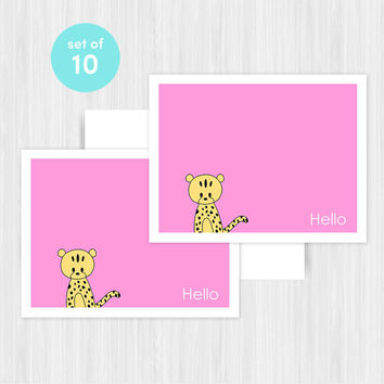 Cheetah Hello Greeting Card Set Blank Handmade Notecards Cards Notes Boxed Set Stationery Gifts For Friend Her Teacher Hostess Pack of 10