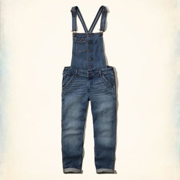 Hollister Skinny Cropped Denim Overalls