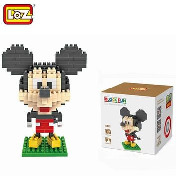 LOZ Single Sale Mini Big Head Mickey Mouse Diamond Bricks Cartoon Doll Building Blocks Toys for Children 9413