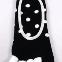 Black w/White Dot Footie Toe Socks