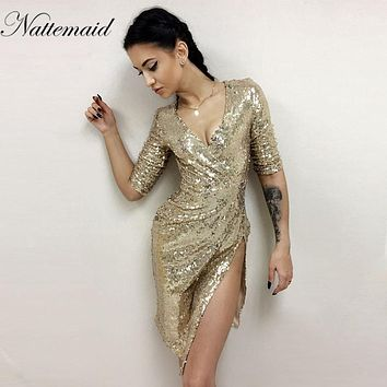 NATTEMAID Autumn Winter Dress Shining Gold Sequin Dresses Elegant Evening Paillette Robe Sexy split Bustier Dress V neck Vestido