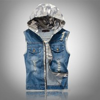 Juice Action Men's Slim Fit Camouflage Hoodie Jeans Denim Vest Outwear