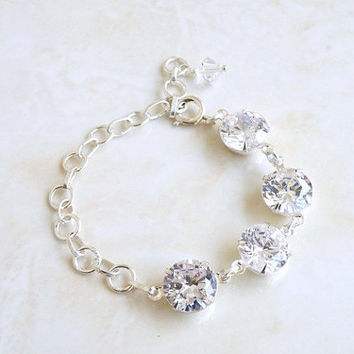 Bridal Bracelet Prong Set Cubic Zirconia and Sterling Silver Bracelet - Itzel B3B Wedding Jewelry