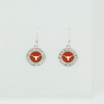 Texas Longhorns Crystal Circle Earrings