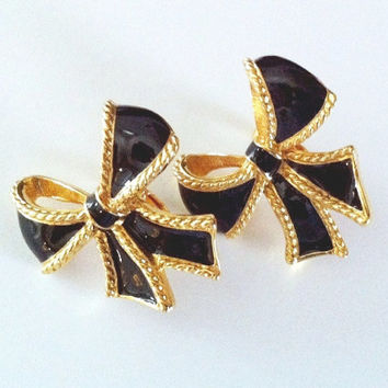 Vintage Kenneth Jay Lane KJL for AVON Gold Tone & Black Enamel Bow Earrings