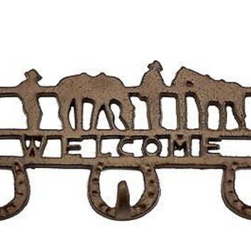 """Country Style Cast Iron Triple Wall Hook / Key Holder with Horseshoes and """"Welco"""