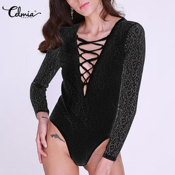 Celmia Crochet Sexy V Neck Lace Bodycon Bodysuits Women Lace Up Hollow Out Long Sleeve Jumpsuit Rompers Playsuit Plus Size 3XL