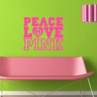 Victoria Secret Inspired Peace Love Pink Wall Decal Vinyl Sticker