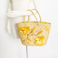 Vintage Basket Purse - 1960s Woven Straw 3-D Floral Brown Top Handel Market Tote Bag Filipino 60s
