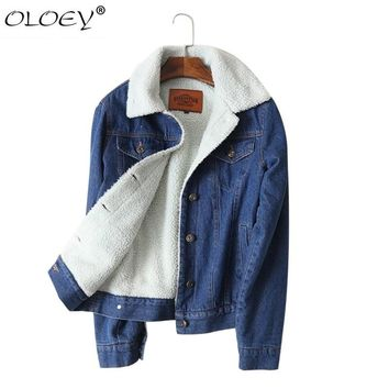 brand 2018 autumn winter jacket coat women Blue Denim jacket  Coat Woman Cotton thick warm Liner fashion new outwear coat