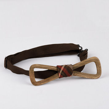 Mans Wooden Bow Ties. Hipster Bowtie Made Of Wood with Brown Red Ribbon. Bow Ties For Men. Unique design by Three Snails Free Shipping!