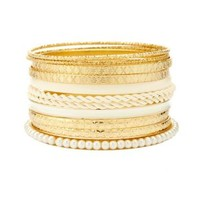 White Coated, Twisted & Pearl Bangles - 11 Pack by Charlotte Russe