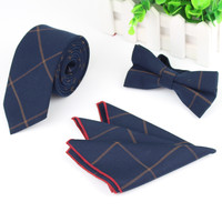 3 PCS Men Strip Bowtie Tie Pocket Square Wedding Dress Suits Bow Tie Handkerchief Set Lote