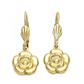 Gold Layered 5.108.015 Dangle Earring, Flower Design, Diamond Cutting Finish, Golden Tone