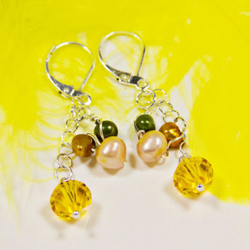 Yellow Dangle Earrings Sterling Silver Leverback Beaded Earrings Pearl and Yellow Swarovski Crystal Silver Dangles Handmade Beaded Gifts