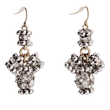Silvery Crystal Drop Earrings