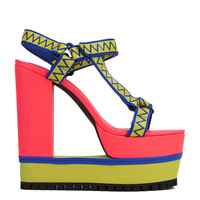 Privileged by J. C. Dossier Helga Lime Blue Platform Sandal Heels