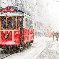 Wall decor - Tram photography, istanbul photography, winter, snow photograph, istanbul photo, red tram, Art Print, 10x15, christmas